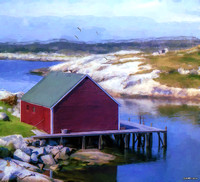 Red Fishing Shed on the Cove